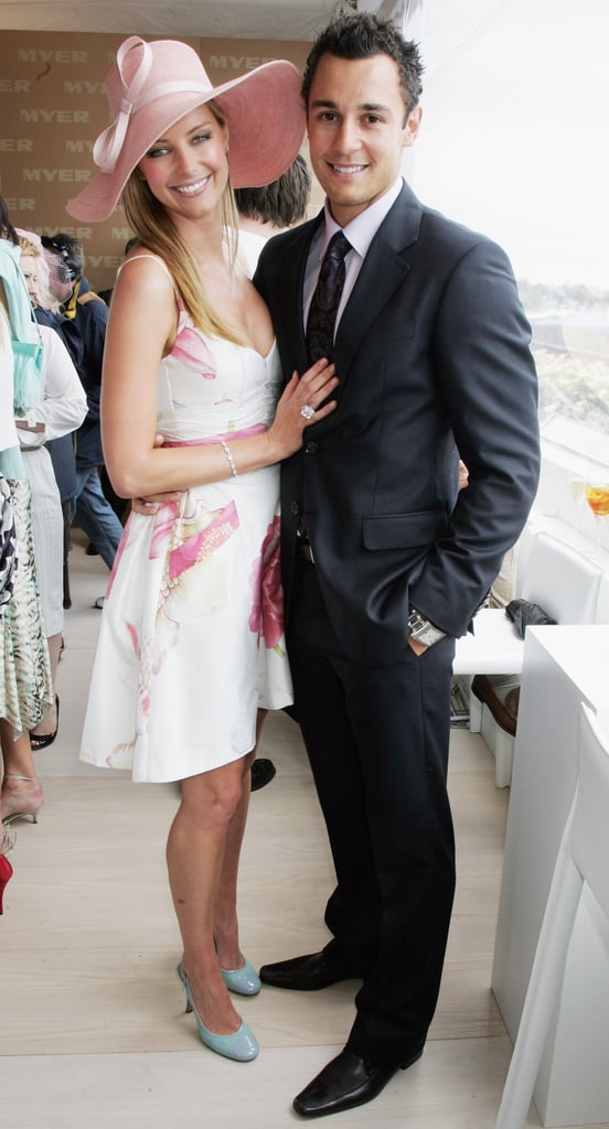 Jennifer held onto her man at the 2006 Melbourne Cup.