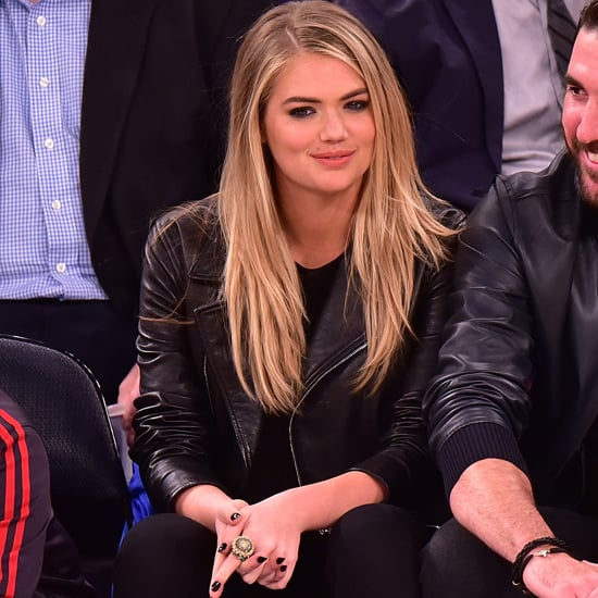 Kate Upton Wearing Leather Jacket at the Knicks Game