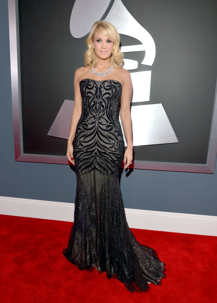 Performer Carrie Underwood chose a floor-length Roberto Cavalli gown for the Grammys.
