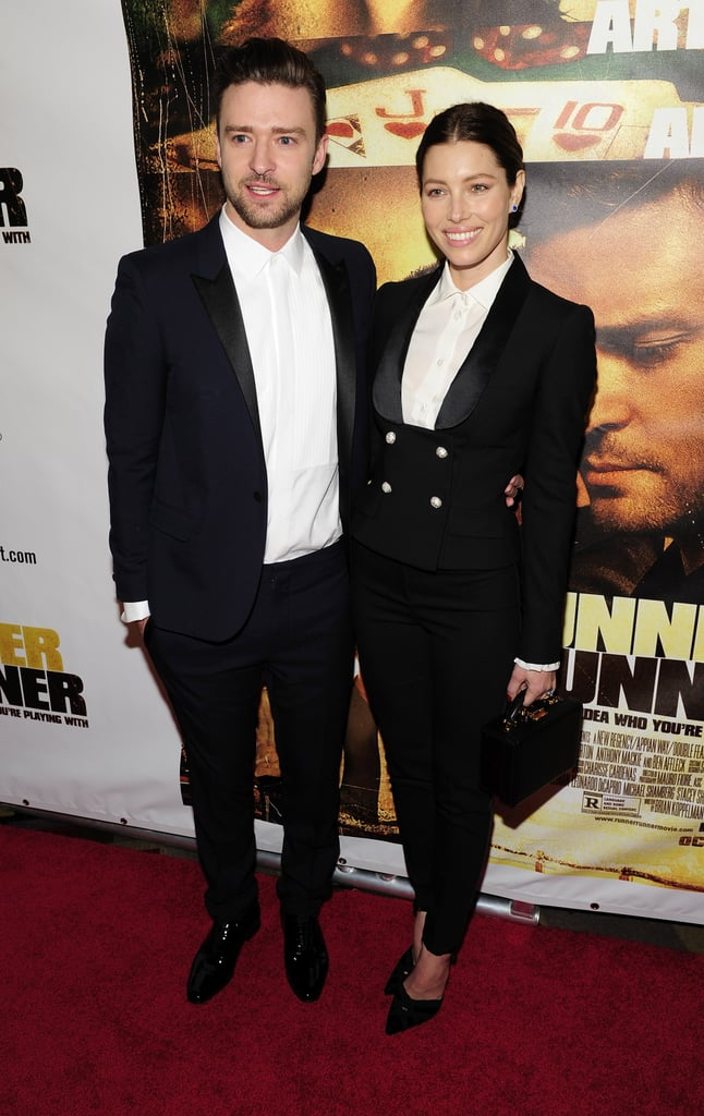 Jessica Biel popped by the premiere to support Justin Timberlake.