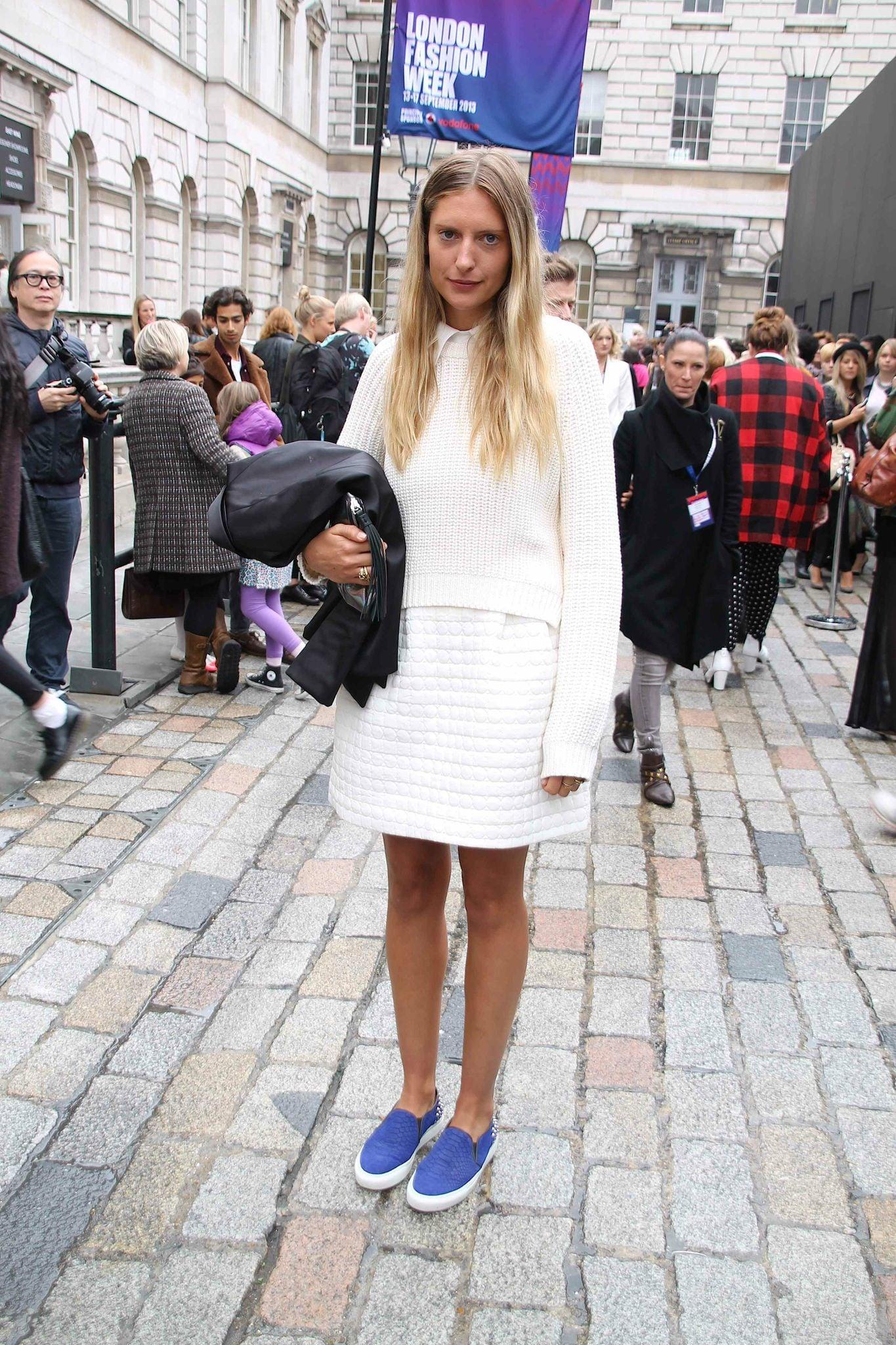 Slip-on sneakers gave her look a tomboy twist. Source: Hannah Freeman