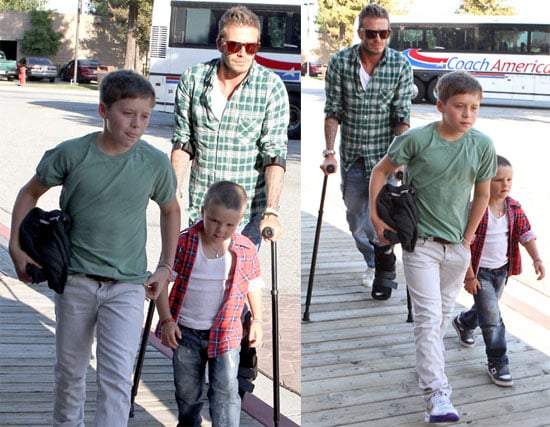 Pictures of David Beckham on Crutches With Cruz and Brooklyn in LA