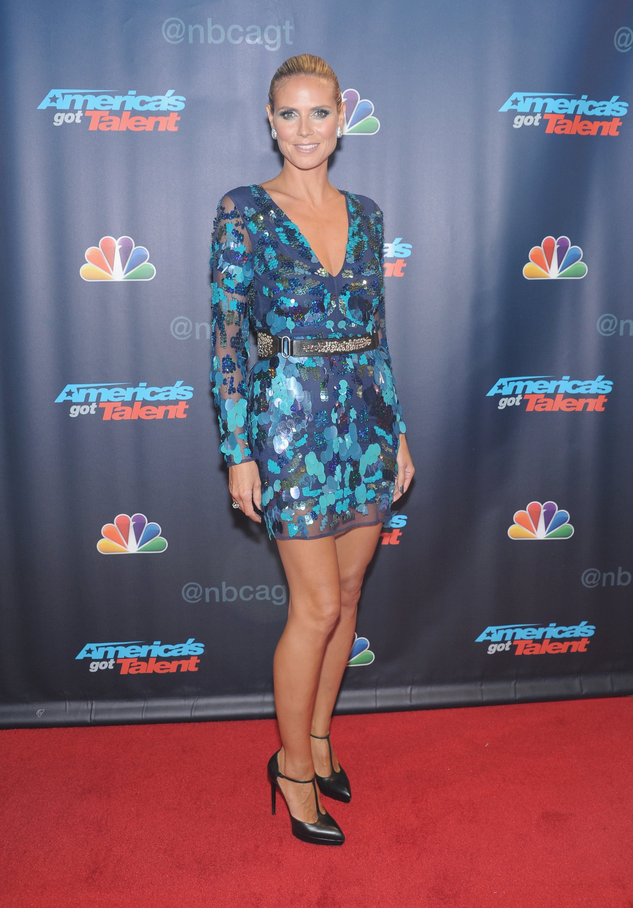 Heidi Klum donned an embellished minidress with black T-strap pumps at an America's Got Talent event in NYC.