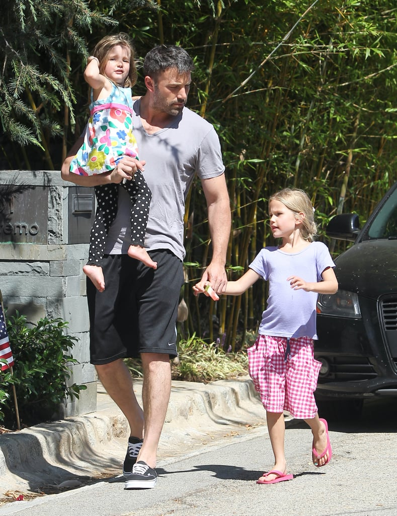 Ben Affleck walked with Violet and Seraphina Affleck.