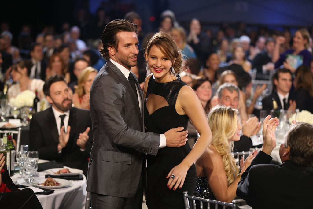 Bradley Cooper gave a big hug to his Silver Linings Playbook co-star Jennifer Lawrence at January's Critics' Choice Awards.