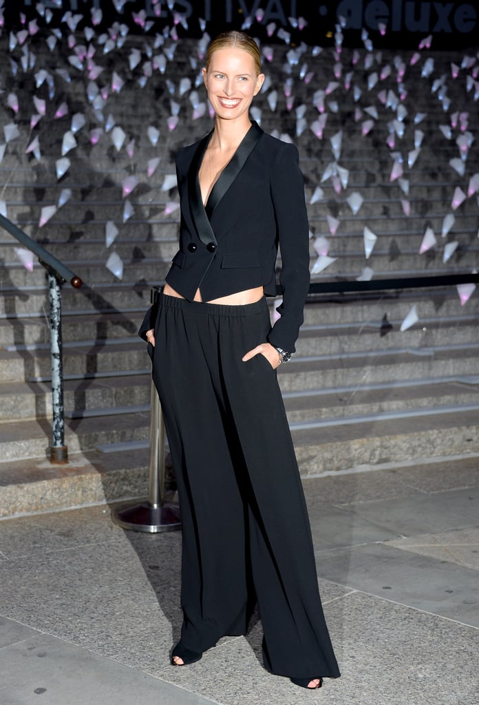 Karolina Kurkova looked ultrachic in a menswear-inspired look — her tuxedo jacket and loose wide-leg pants supplied us with serious cocktail-dressing inspiration.