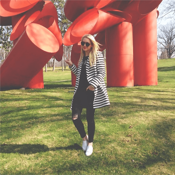 One easy step to dressing up distressed denim? Just throw on your best overcoat.  Source: Instagram user blaireadiebee