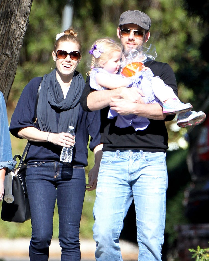 Amy Adams and her fiancé Darren Le Gallo took their daughter Aviana to a party on Saturday in LA.