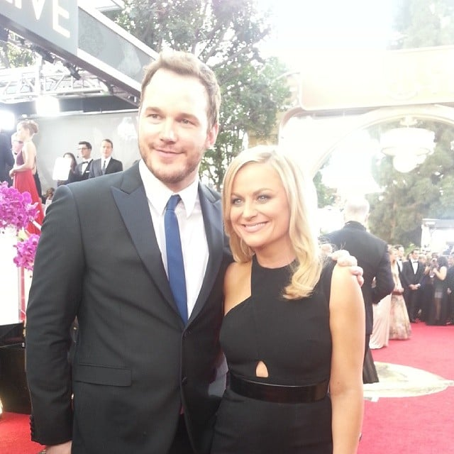 Amy Poehler posed with her costar Chris Pratt on the red carpet. Source: Instagram user goldenglobes