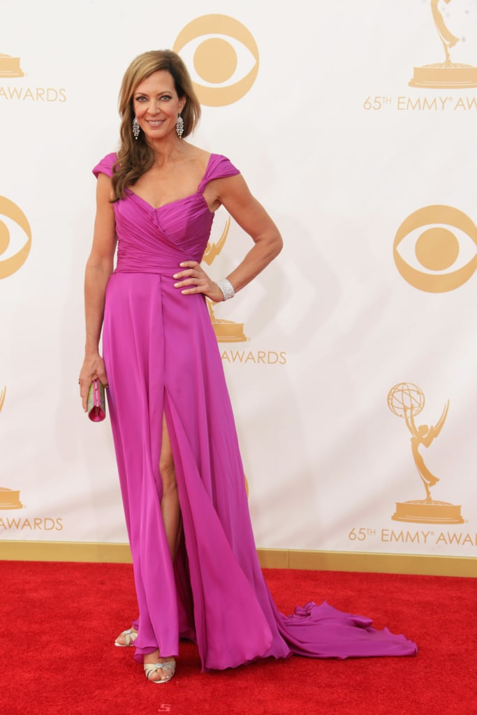 Actress Allison Janney struck a pose on the Emmys red carpet.