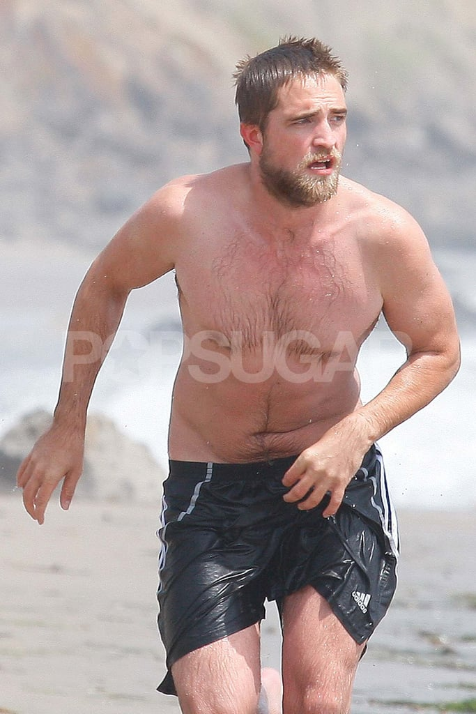 Robert Pattinson went shirtless with a beard.
