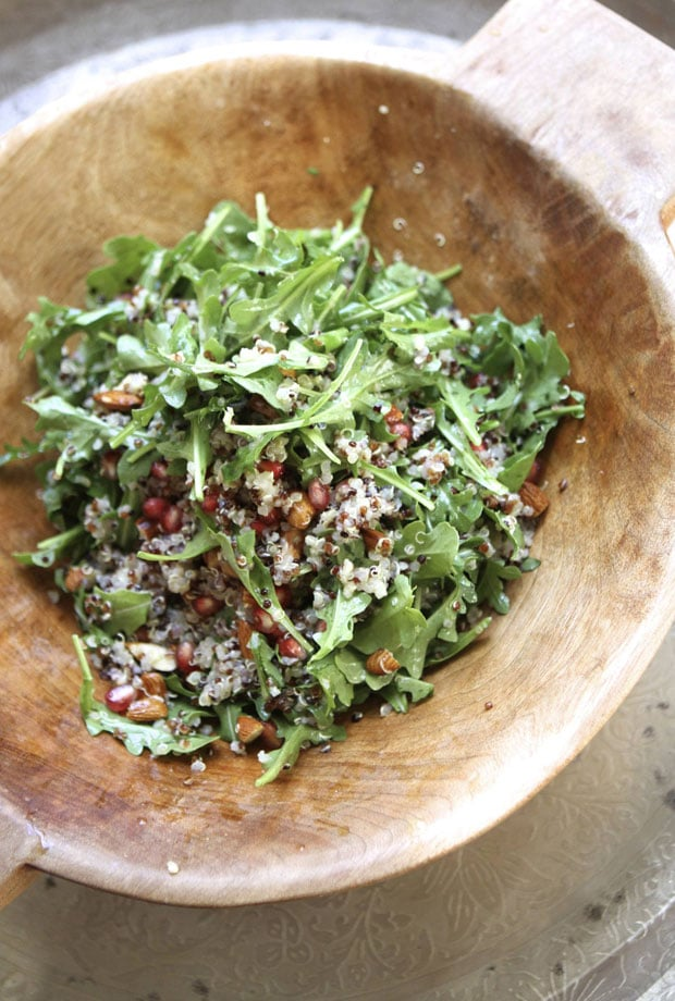 Pomegranate, Arugula, and Almond Quinoa Salad