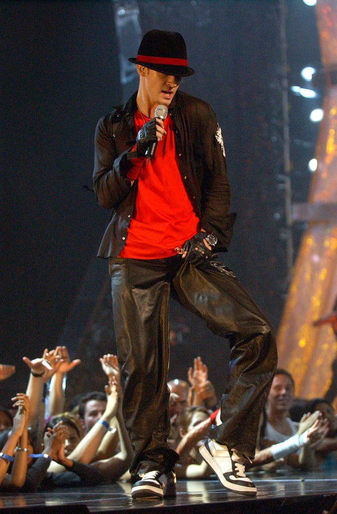 """When he performed """"Like I Love You"""" at the 2002 MTV VMAs."""