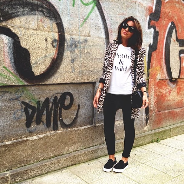 A leopard-print coat and cool-girl kicks elevates this tee from ordinary to awesome.  Source: Instagram user lovelypepa
