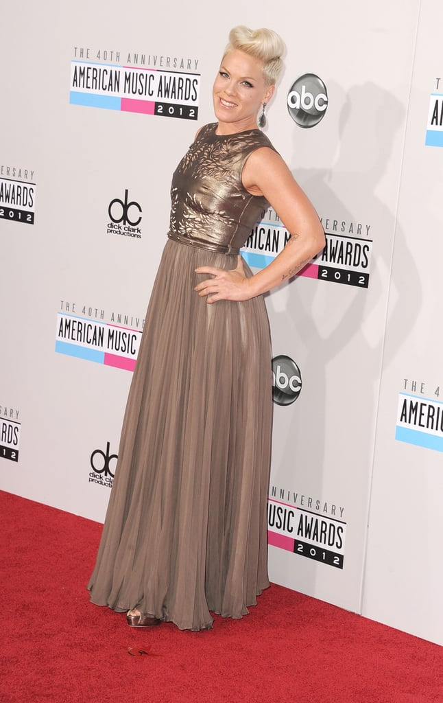Pink posed on the red carpet at the American Music Awards.