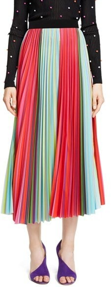 Mary Katrantzou Pleated Rainbow Stripe Midi Skirt ($1,535)