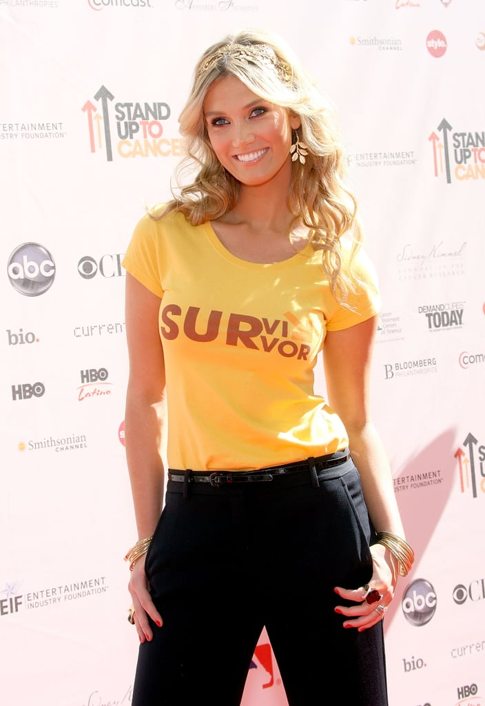 Showing she's a survivor at the Stand Up to Cancer event in Culver City in Sep. 2010.