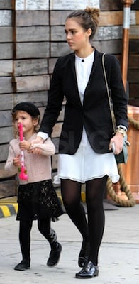 Jessica Alba in Sheer White Dress, Laceless Patent Oxfords