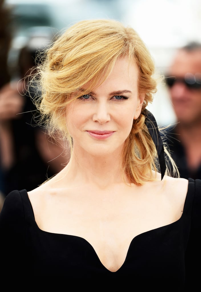At this year's Cannes Film Festival, Nicole was on the jury, and she showed off many amazing looks. This particular one featured a braided chignon with a ribbon woven into it.
