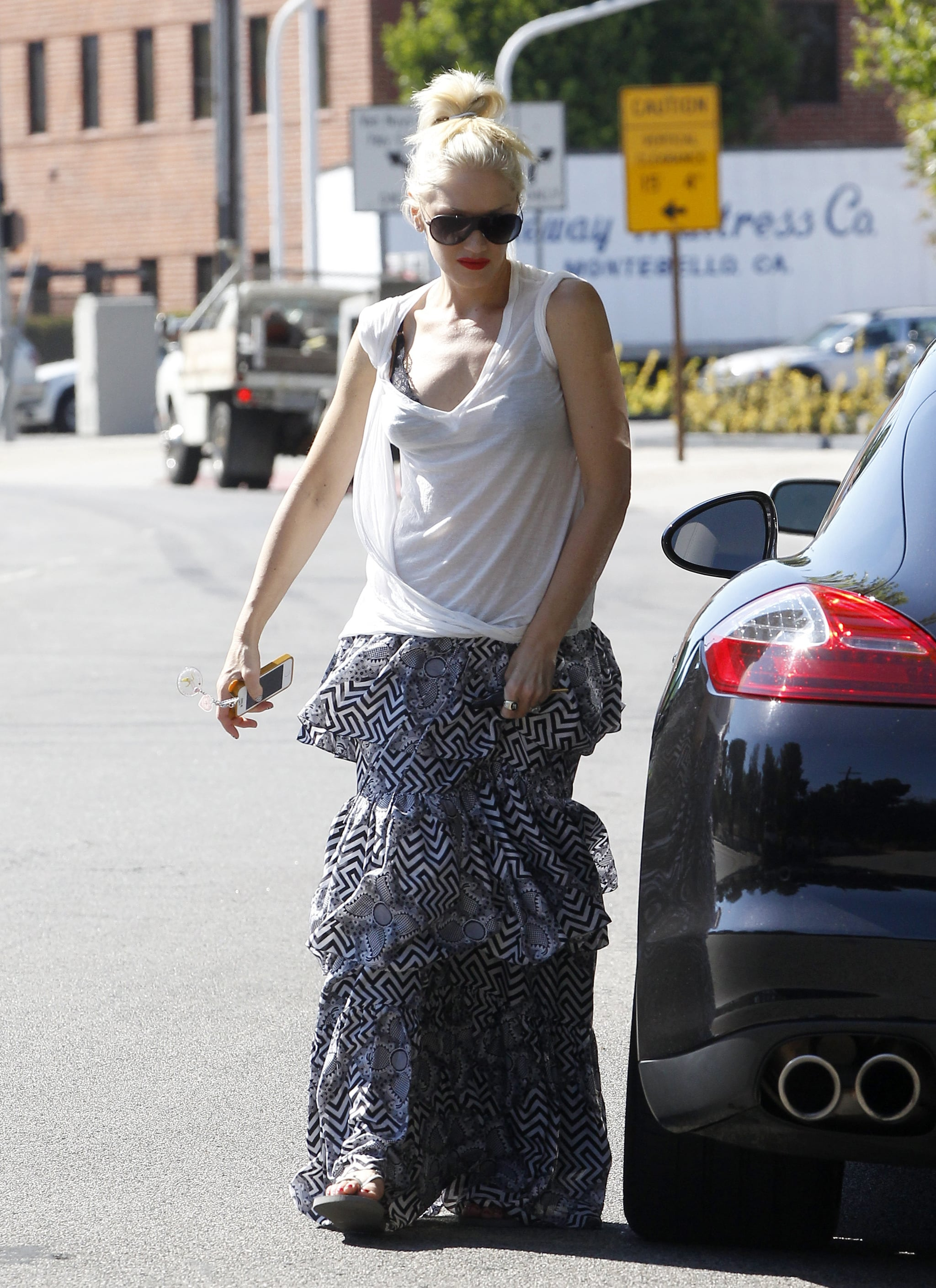 Gwen Stefani wore a long printed skirt.