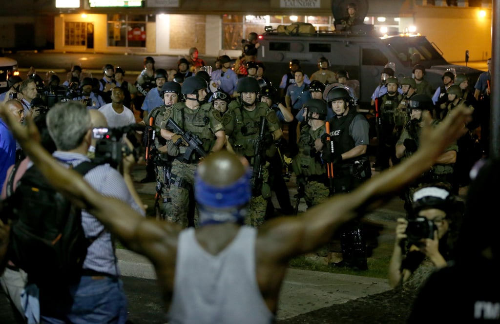 Demonstrators faced off with police in combat gear.
