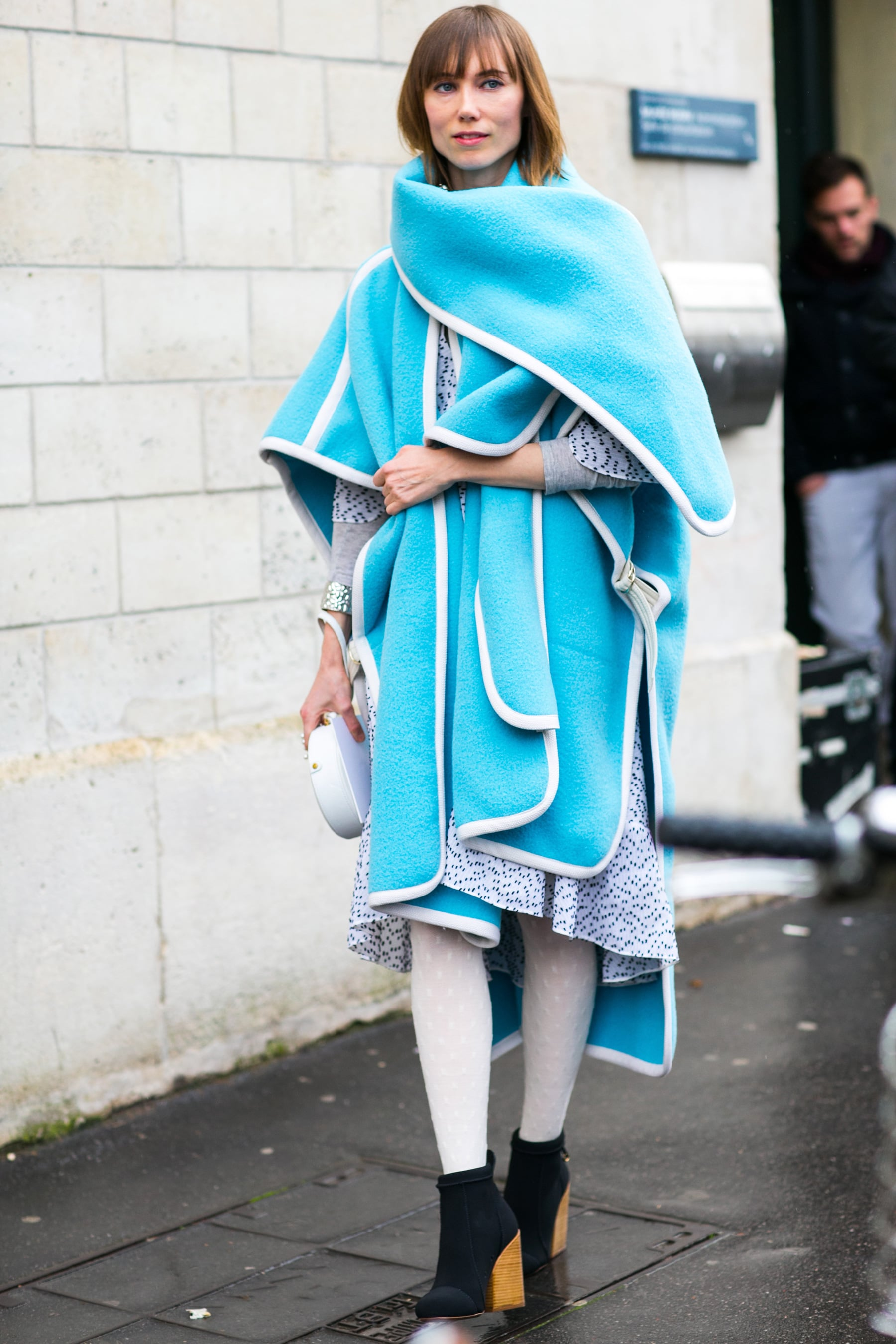 It doesn't get brighter than Anya Ziourova's electric-blue wrap.
