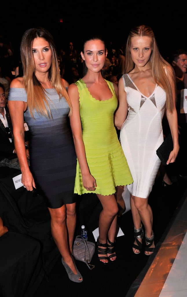 A sexy trio of Hervé Léger-clad starlets — Daisy Fuentes, Odette Annable, Petra Nemcova — at the Spring '13 show.