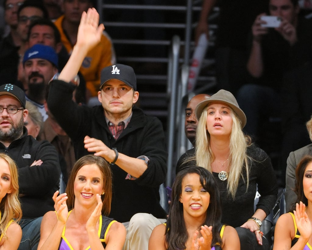 Ashton Kutcher and Kaley Cuoco got excited during a November 2012 Lakers game.