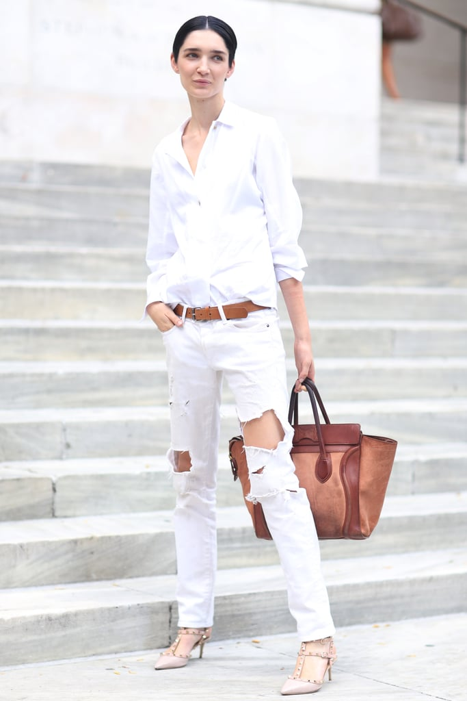 Ripped jeans played off the classics in this menswear-inspired, all-white mix. Source: Greg Kessler