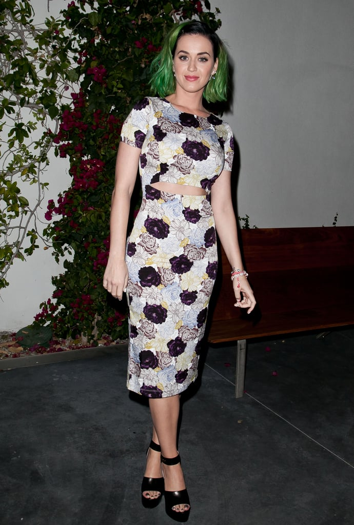 Katy put her green hair on display.