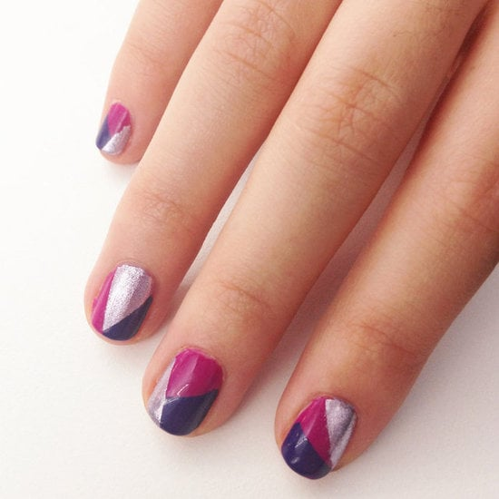 Creating a mod geometric nail design is an easy way to wear three of your favorite polish shades all at the same time.