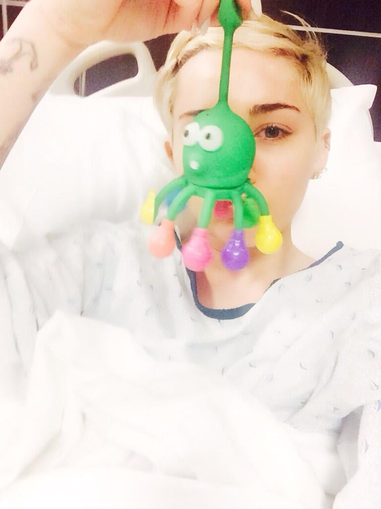 After Miley Cyrus was hospitalized, she snapped a selfie, of course. Source: Twitter user mileycyrus