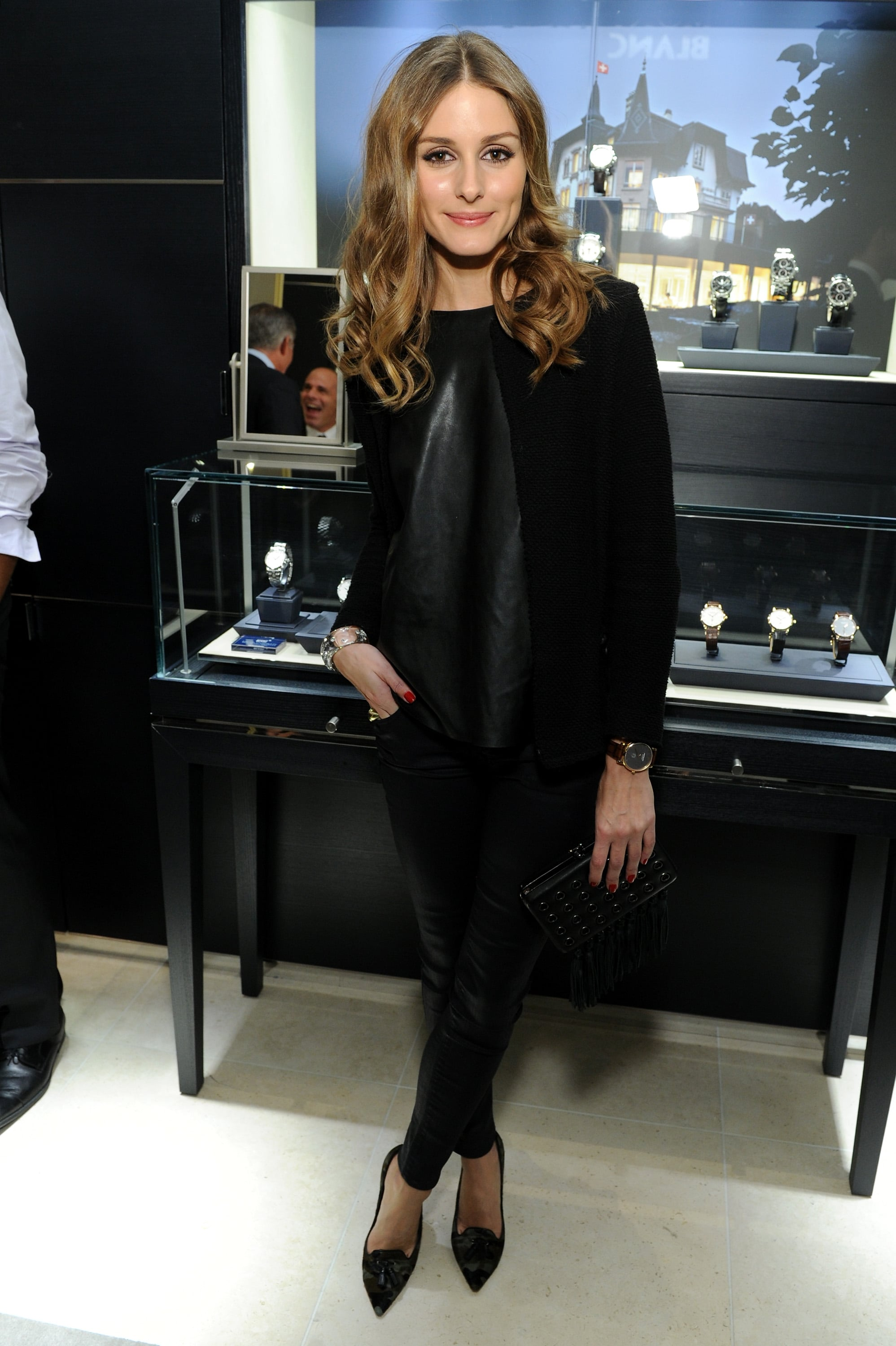 For a Montblanc event, Olivia outfitted all black with a little edge.