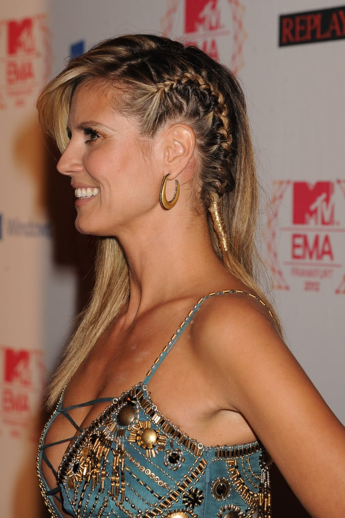 At the 2012 MTV Europe Music Awards, Heidi wore a sideswept style, but the cornrow on one side added an unexpected edge.