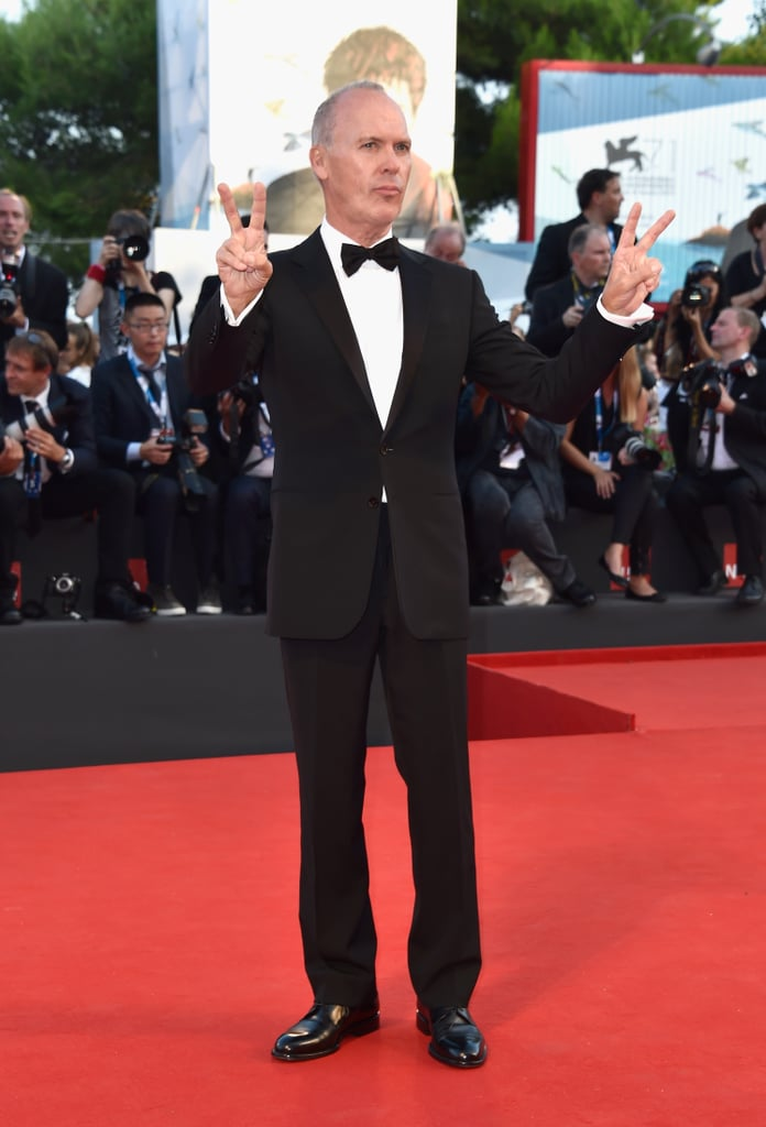 At the opening ceremony, Michael Keaton flashed peace signs.