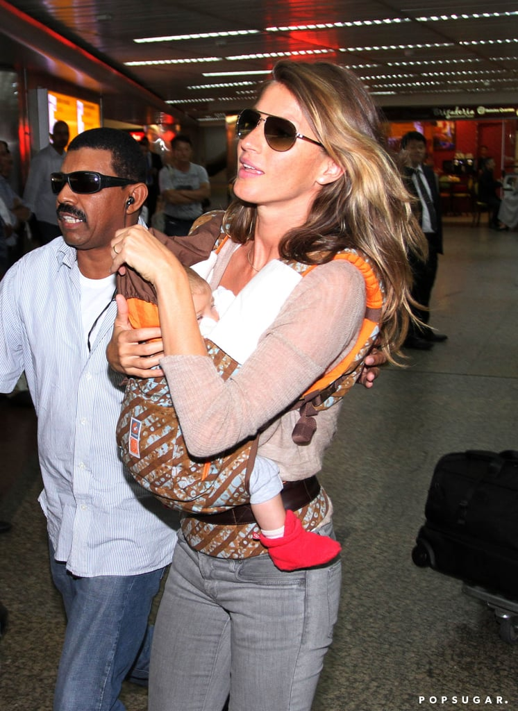 Gisele Bündchen walked through the airport in Brazil on Tuesday.