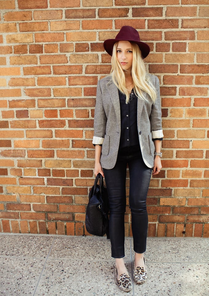 Outfit your smoking slippers and leather cropped pants with a cool merlot hat. Photo courtesy of Lookbook.nu