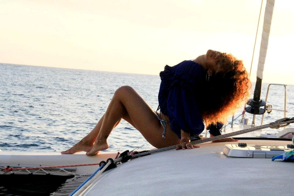 Rihanna posed in bikini bottoms on a boat.