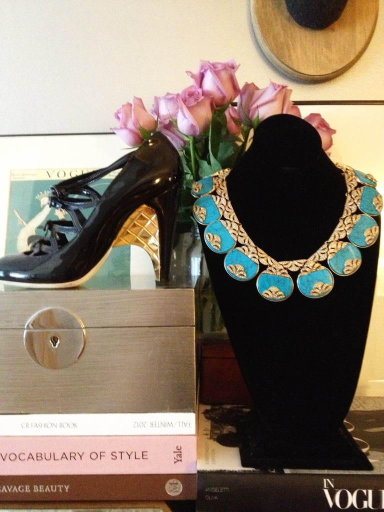 I recently wore my favourite pair of shoes with this collar statement necklace from our new High Summer Collection for a gala in New York. A hit!