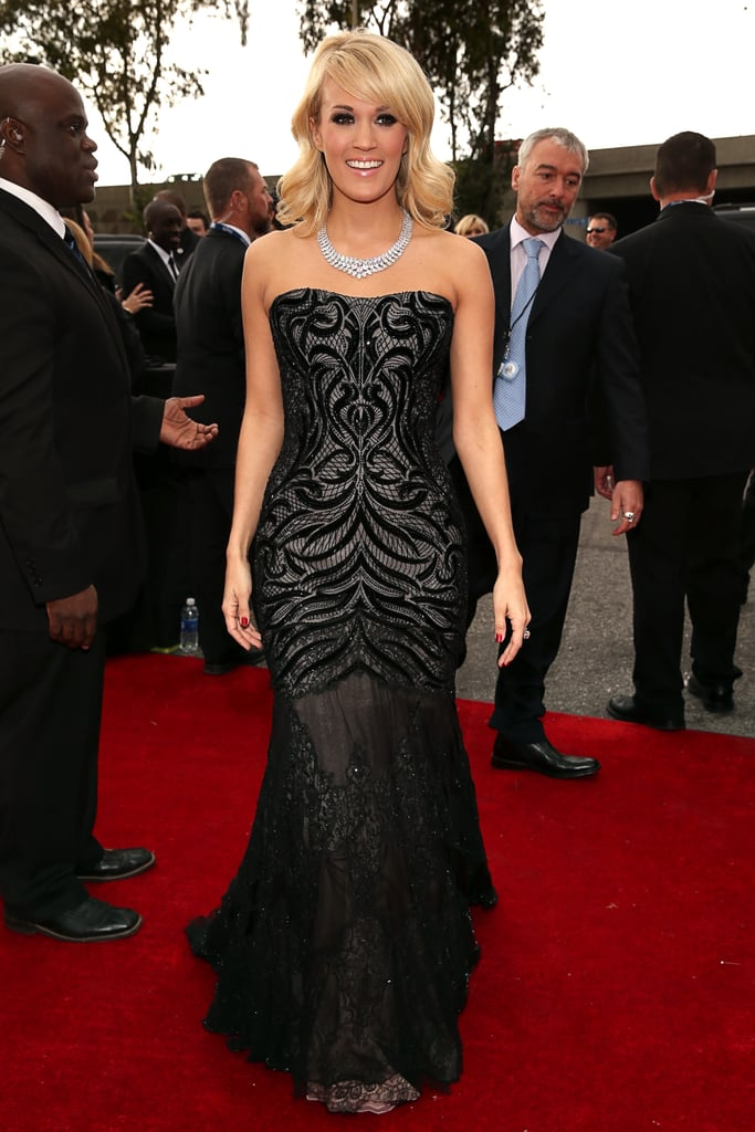 Carrie Underwood's strapless beaded Roberto Cavalli confection was the perfect combination of drama and glamour.
