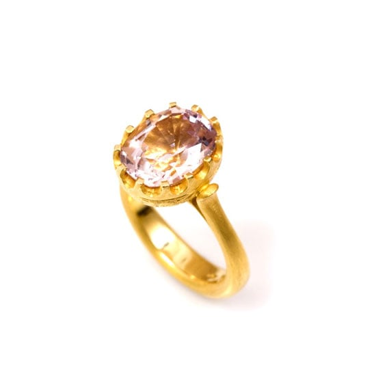 Pale pink spinel engraved ring 18 carat matte gold ring, $9700, Love and Hatred