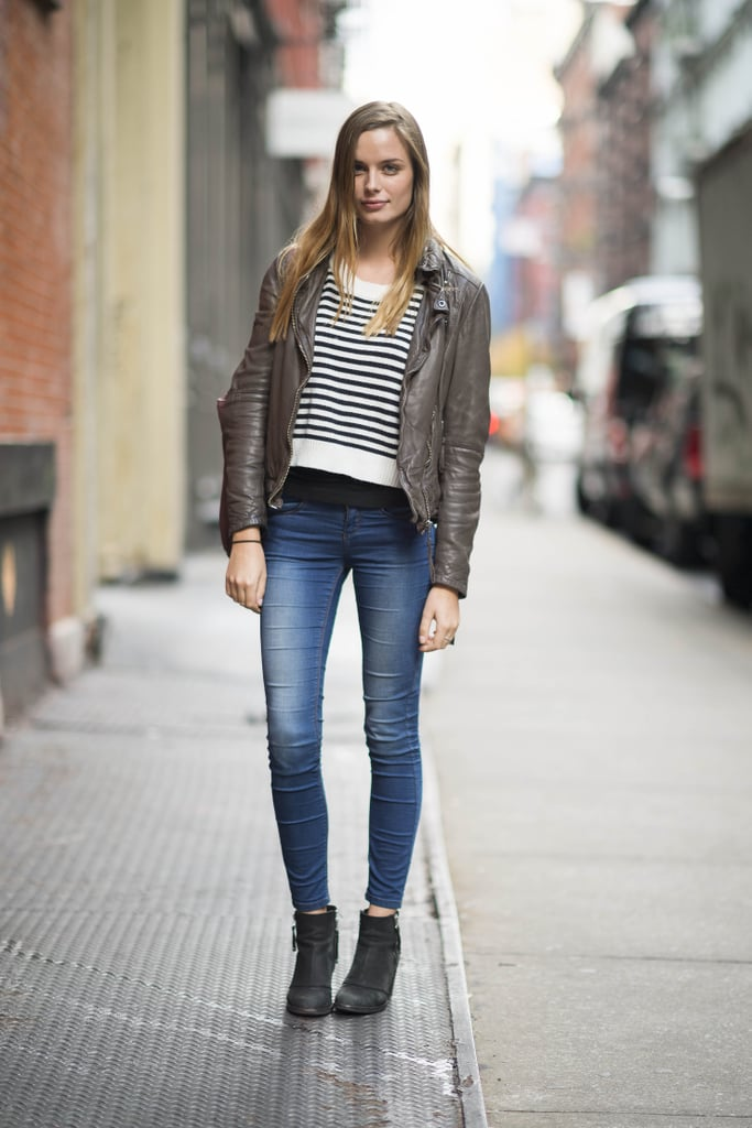 Stripes and leather made an effortlessly cool combo in this everyday look — ankle booties were the perfect finishing touch. Source: Adam Katz Sinding
