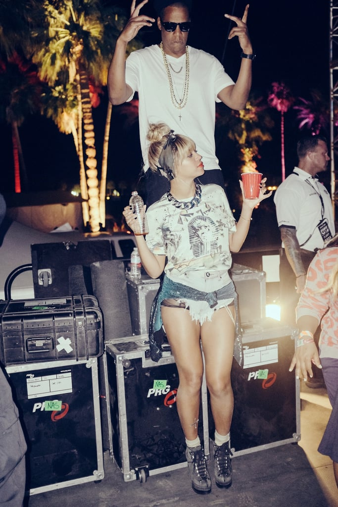 Beyoncé sipped from a red Solo cup while hanging out at Coachella in April 2014.