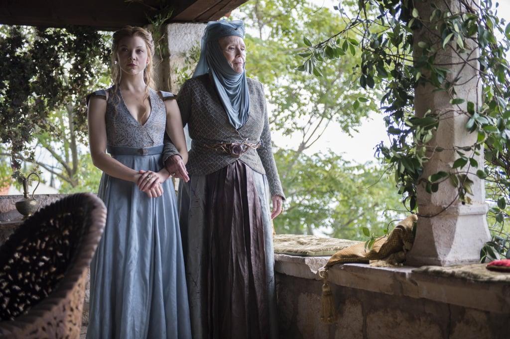 Natalie Dormer as Margaery Tyrell and Diana Rigg as Olenna Tyrell.