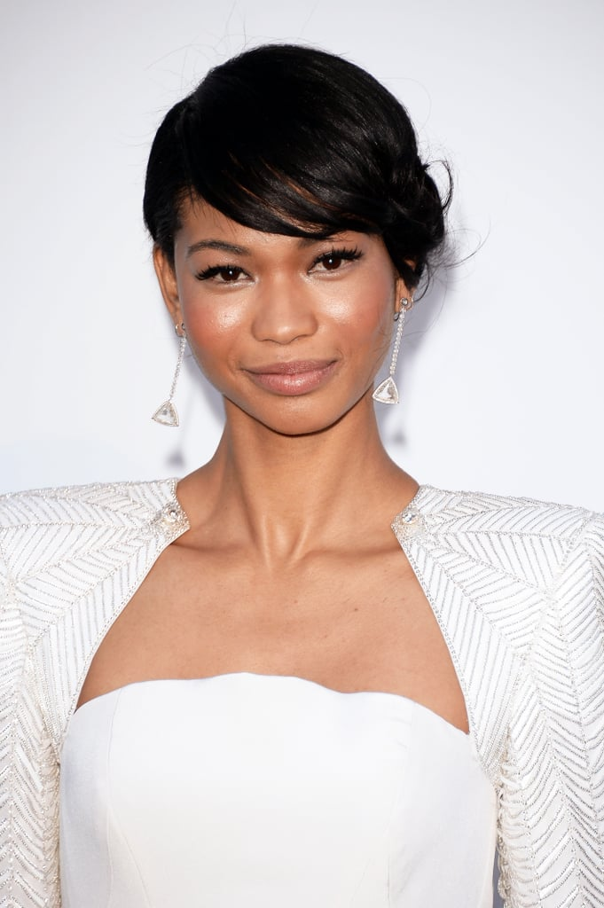 Chanel Iman looked classy in a white gown, which she wore with an updo and sideswept bangs. Her makeup was simple with an emphasis on her eyes.