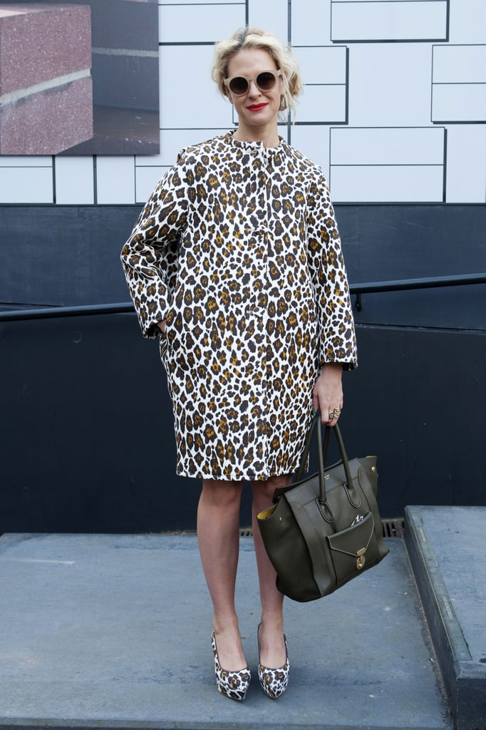 Leopard prints, right down to her toes, put this showgoer's look on our radar.