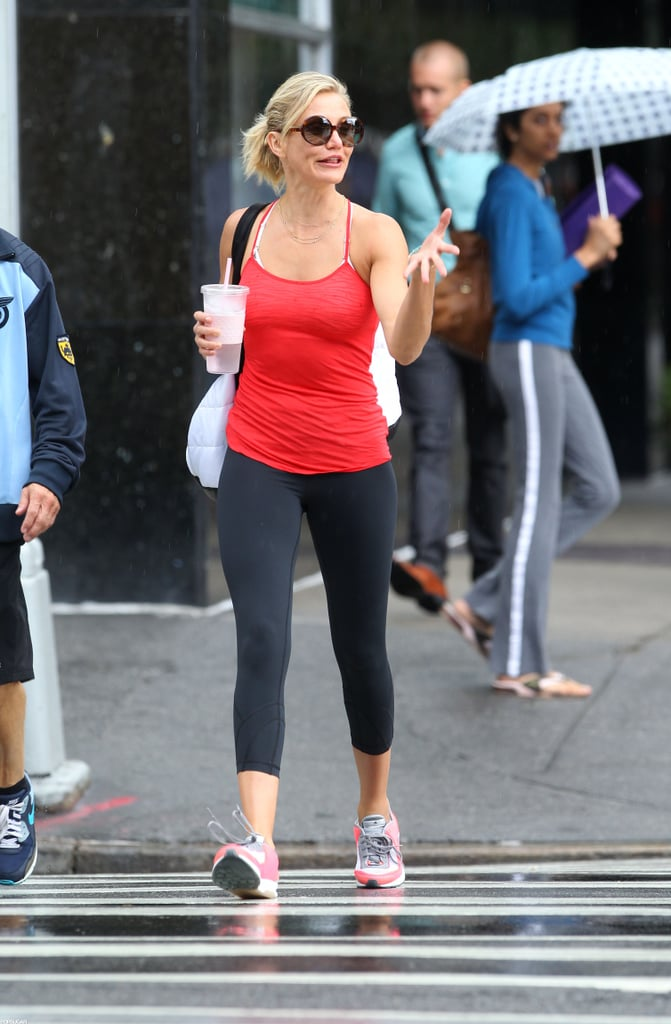 Cameron Diaz got animated while crossing a street.