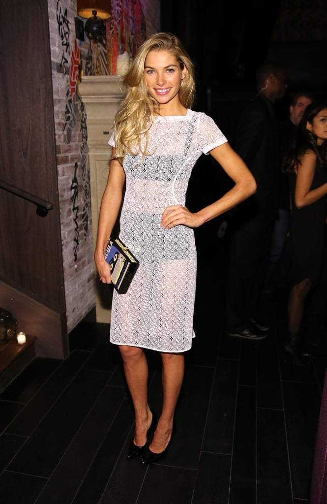 Jessica Hart was sheer perfection in a white dress and black undergarments.