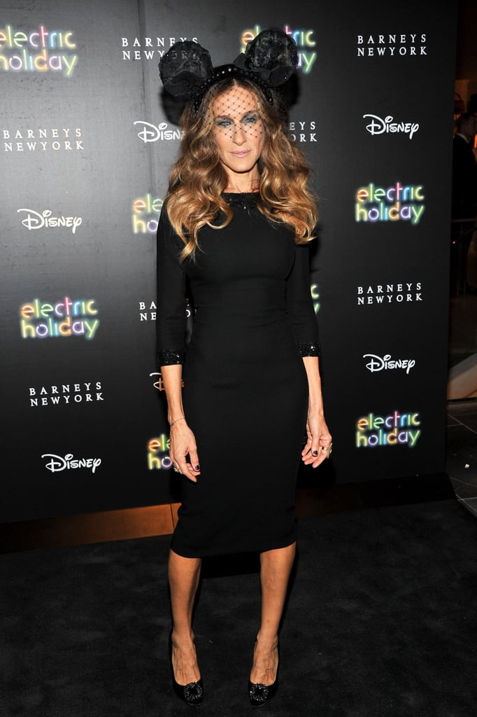 Sarah Jessica Parker took styling tips from one of our favorite Disney characters, topping her sleek L'Wren Scott dress and jeweled Manolo Blahnik pumps with a lace mouse-ear headpiece for the Barneys New York window unveiling in November 2011.