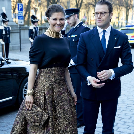 Crown Princess Victoria of Sweden Wearing a Gold Skirt